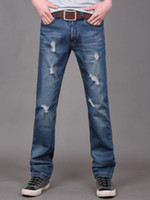 Wholesale Leisure Blue Solid Color Cotton Fashion Straight Jeans For Men swimwear u7 tca