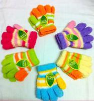 Wholesale New Hot Sale Winter Baby Boy s or Girl s Sweet Stripe Color Polar Fleece Gloves Kid s Winter Gloves Children s Gloves