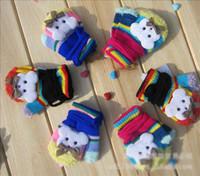 Unisex bear one bow - New Hot Sale Winter Children s baby boys girls cartoon bow knot bear Finger Gloves mittens for winter