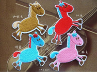 Sewing Machine Accessories Decor Fabric Silk Ribbon Wholesale lot Cartoon multi color horse pony embroidered applique iron-on patch