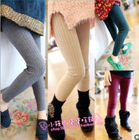 Wholesale Children Clothing Solid Knitted ALL Match Leggings Cotton Woolen Yarn Tights Kids Clothes Girls Stretch Skinny Pants D0596