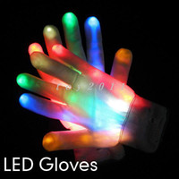 Wholesale 2pcs pair Novelty LED Flashing Gloves Colorful Finger Light Glove Christmas Halloween Party Decorations