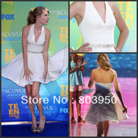 Real Photos Satin Celebrity Dresses Free shipping 2011 Teen Choice Awards Swift Deep V Neck Beadig Waist Satin Short Celebrity Dress