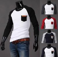 raglan shirt - 2013 NEW casual Raglan sleeve men s t shirts men s t shirts Mixed colors mens t shirts black sleeve