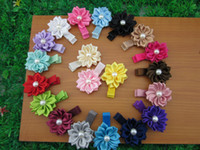 hair clip polyester Solid Fashion satin handmade flower with ribbon covered hair clip for baby, baby hair accessories. baby hair flower.50pcs lot