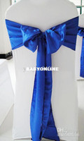 Wholesale royal blue satin sash chair bow