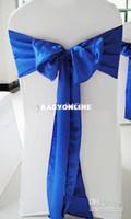 Wholesale royal blue satin sash chair bow
