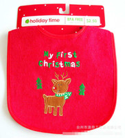 Wholesale Baby Christmas Clothing Bibs Deer Infant Xmas Bib Outwear Burp Cloths Toddle Feeding Product Kids Clothes Infants Saliva Towel Cloth D0599
