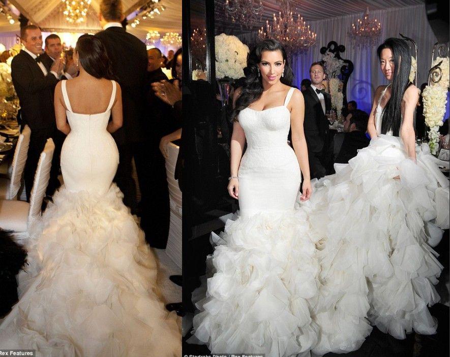Kim Kardashian 2014 Mermaid Wedding Dresses Spaghetti Sexy Organza ...