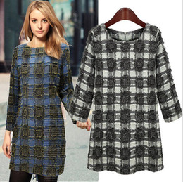 Wholesale New Arrival Women s O Neck Long Sleeves Plaids Printed Fashion Autumn Winter Dresses