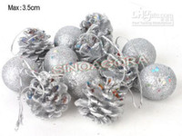 Wholesale Silver Pine Cones And Christmas Ball Ornament As Xmas Tree Decoration