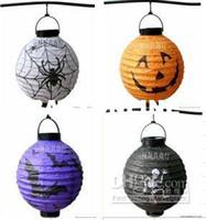 Wholesale quot Lantern Lamp Battery Powered Paper Skeleton Spider Bat Jack O Lantern Pumpkin for HALLOWEEN Gift amp