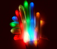 Wholesale 2016 new pair Novelty LED Flashing Gloves Colorful Finger Light Glove Christmas Halloween Party Decorations