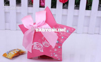 Wholesale European Creative Wedding Candy Box Pentagram With Bowknot Party Favor Boxes Colors