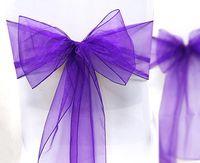 Wholesale 50pcs PURPLE Wedding Sheer Organza Sash Annual Event Chair Decoration Bow