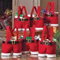 new hot santa pants style christmas candy gift bag xmas bag gift 20pcs lot - Christmas Decorations Wholesale