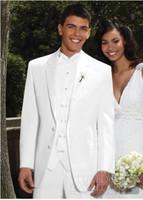 Men Pant Suit Formal Wholesale - Custom Made Two Button White Groom Tuxedos Best Man Notch Lapel Groomsmen Men Wedding Suits Bridegroom (Jacket+Pants+Tie+Vest) H