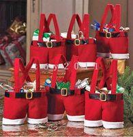 Christmas Tree Ornament santa ornament - 20pcs Santa pants style Christmas candy gift bag for lover marry Christmas bag Christmas wedding candy bag