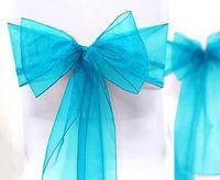 20*275cm aqua furniture - Sample Order quot cm W x quot cm L Aqua Blue Organza Sheer Chair Sash Wedding Banquet Bow Wedding Favor Supplies