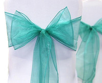 Wholesale Sample Order quot cm W x quot cm L Teal Blue Organza Sheer Chair Sash Wedding Banquet Bow Wedding Favor Supplies