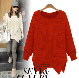 Wholesale 2014 Women s O Neck Long Sleeves Pullover Hollow Asymmetrica Street Style Fashion Sweaters
