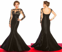 Wholesale 2014 Fancy Appliqued Prom Dresses Sheer High Neck Long Sleeve Backless Mermaid Chapel Train Stretch Satin Black Evening Gowns