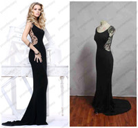 affordable bras - 2016 Tarik Ediz Affordable Sheer Beaded Backless Sheath Gowns Scoop Neckline Black Chiffon Goddess Wedding Evening Dresses Buy Get Bra