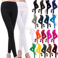 Wholesale Womens Candy Color Skinny Slim fit Stretchy Pencil Pants Leggings Trousers kx25