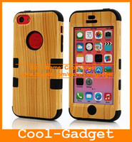 Wholesale Wood Grain Hybrid Armor Tuff Silicone Rubber Hard Case CellPhone Back Cover Skin for iPhone C iPhone5C IP5CC83