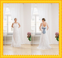 Wholesale Custom Fashion White Ivory Backless With Bows Ribbon Sheath Sheer Strap Lace Long Sweep Train Wedding Bridal Dress Dresses Gown Cheap