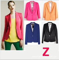 Wholesale 2015 new fashion color one grain buckle candy color women s Blazers small coat suit size XS XL