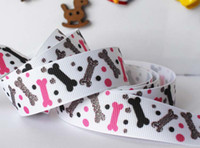 Wholesale 10yards mm dog bone dots cartoon printed cartoon ribbon package Polyester Grosgrain Ribbon DIY gift accessories