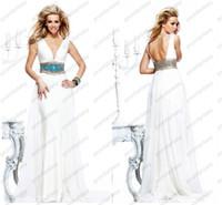 Chiffon Sleeveless Sweep Train 2014 Tarik Ediz Sheer V-Neck Greek Goddess White Party Dresses Crystals Jewelled Waist Sweep Train Chiffon Sheath Wedding Evening Dresses