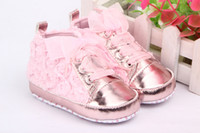 Lace-Up Girl Summer Infant Toddler Baby Antislip Sole Shoes Rose Flower Lace Pink Girl's Prewalker 3Sizes pick For 3-18Months DLA1*1