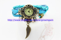 Wholesale Discount sale Vintage Ladies Watch Owl Wings Pendant Item Hours Bead Bracelet Watches Retro Braided Genuine Leather Strap Watch for women