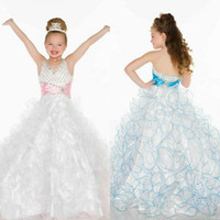 Halter Beads Organza Wholesale - Magnificently Halter Beaded Ruffles White Organza Girl's Pageant Dresses Made In China 2014
