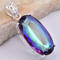 Wholesale Indian Fashion Jewelry Dazzling Elegant Natural Mystic Topaz Silver Pendant CP0098