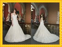 Wholesale Luxury Mermaid Wedding Dresses New Sweetheart Applique Lace Ruffles Court Train Beaded Wedding Bridal Dress Gowns