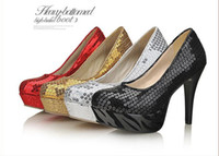 High Heel Round Toe Sequined Free Shipping!!Cheap Pillettes wedding shoes bridal shoes high-heeled wedding shoes performance shoes party shoes - Four colors