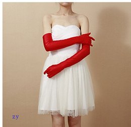 Wholesale New red Bridal Glove Wedding Gloves Spandex Party Evening Opera Length Gloves Fall