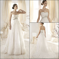 Wholesale 2014 New design Sweetheart Empire Beaded Waist Lace Appliques Princess Maternity Wedding Dress Bridal Gown