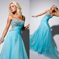 Model Pictures Strapless Chiffon Perfect Peacock Beaded Accents Ruched Long Prom Dresses Light Blue Lady's Evening Party Formal Dress Special Occassion Gown 029
