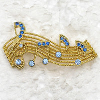 Wholesale C279 B2 Sapphire Crystal Rhinestone MUSIC NOTE Brooch Fashion costume brooches pin jewelry gift