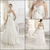 Wholesale New Arrival Sweetheart Empire Beaded Waist Lace Applique Princess Maternity Wedding Dress Bridal Gown
