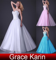 Wholesale New Corset Style Sweetheart Beaded Prom Dresses Ball Gown Party Evening Dresses Tulle Satin CL3519