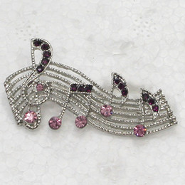 Wholesale C279 D Purple Crystal Rhinestone Musical note Pin Brooch Fashion jewelry gift