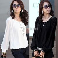 Women chiffon Round Fashion Womens Chiffon Rivet Studs Shoulder Puff Long Sleeve Blouse T-Shirt (AX256) Free shipping