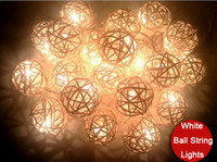 Wholesale funlife Wedding Party String Lights White Thailand Stlye Hand Weaved Rattan String Ball Lantern Xmas Ball String Lights