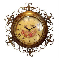 Digital antique iron clocks - Rustic Fashion Wall Clock Wrought Iron Mute Large Quartz Clocks