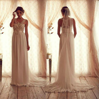 Wholesale 2013 Wedding Dresses Inspired by Anna Campbell Chiffon Backless Strapless Court Train Sleeves Bridal Dresses AC09 dhyz
